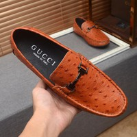Gucci Men Leather Fashion Signature Driver Casual Brown Shoes Best Quality