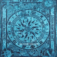 Western Zodiac Signs Cycle of Ages Wall Tapestry, Tie Dye Bedding Sheet on RoyalFurnish.com