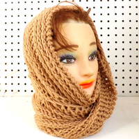 Toasted Crochet Scarf, Crochet Infinity Scarf, Crochet Hooded Cowl, Toasted Almond Scarf, JOAN Crochet Scarf
