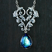 Bermuda Blue Crystal Wedding Necklace