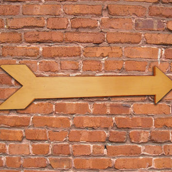 """Yellow distressed painted wooden arrow. Approx. 24""""x6""""x.3/4"""". Handmade."""