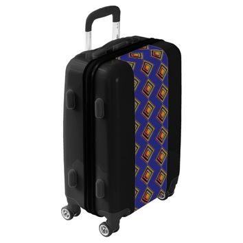 Geometric Blue Pattern and Golden Luggage