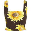 River Island Womens Black sunflower print square neck crop top