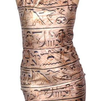Hieroglyphics Sleeveless Mini Dress Design 3010