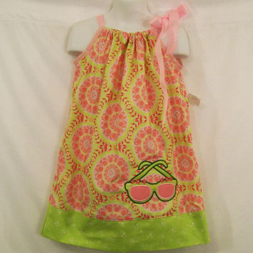 Pillowcase Dress, Girls Pink Circles with Sunglasses Applique , Little Girls Dress, Girls Clothing, #177