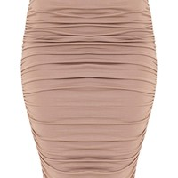 Katerina Taupe Ruched Side Midi Skirt