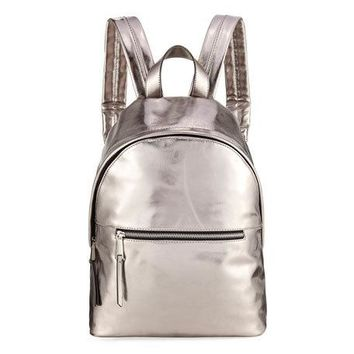 French Connection Jace Small Metallic Backpack, Gray