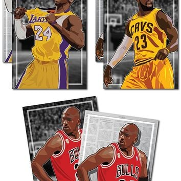 NBA Legends Michael Jordan Kobe Bryant Lebron James Buy Two Get One Free Premium Poster Set