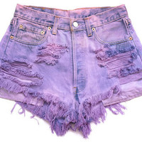 Super Distressed Purple Shorts