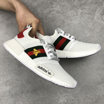 Gucci x Adidas Woman Embroidery Little Bee Running Sneakers Sport Shoes