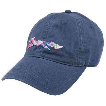 "Country Club Prep ""Longshanks"" Needlepoint Hat in Navy by Smathers & Branson"