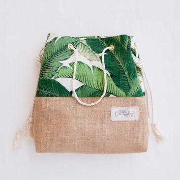 Green Banana Leaf Beach Bag Tropical Tote Palm Print