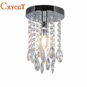 Mini Modern Luxury led Teardrop Crystal Chandelier for Bedroom Corridor Hallway  Wall Ceiling Lamp Chrome Base