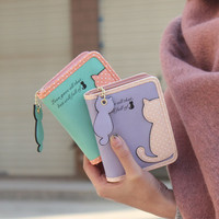 2016 Brand New Lovely Cat Printed Wallet Female Leather Small Change Clasp Purse Money Card Holder Carteras Girls wallets Purses