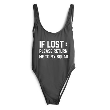 IF LOST PLEASE RETURN ME TO MY SQUAD Swimwear