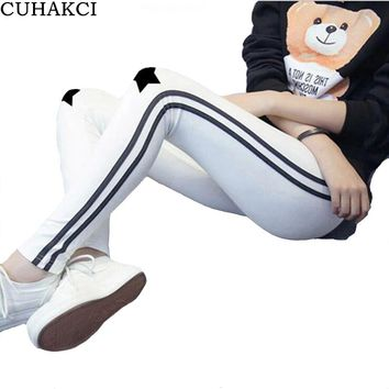 CUHAKCI Side Stripe Leggings Women Cotton Legging Star Print Pants Thin Casual Leggins Lady Mid Waist Activewear Trousers K210
