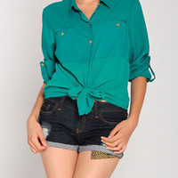 Melrose Blouse in Teal