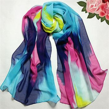 Feitong Fashion Luxury Chinese Ink Style Scarf Women Chiffon Wraps Scarf Women Winter Long Scarves Warm Shawl from china clothes