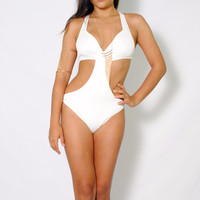 (amd) Cage on back cut out white bodysuit