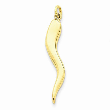 14k Solid Yellow Gold Italian Horn Charm