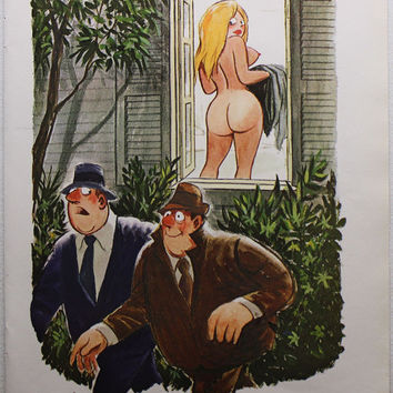 Vintage 1971 Playboy Phil Interlandi Pin-up Girl Nude Topless Sexy Cartoon Man Cave