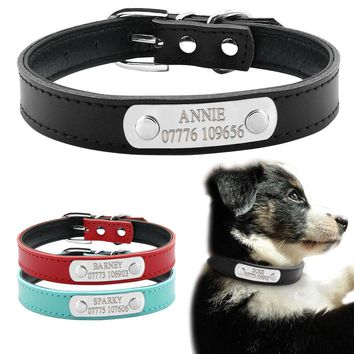 Soft Leather Personalized Laser Dog Collars Free Engraving Metal Buckle Custom Cat Puppy Pet Name Phone ID Collar XS S M