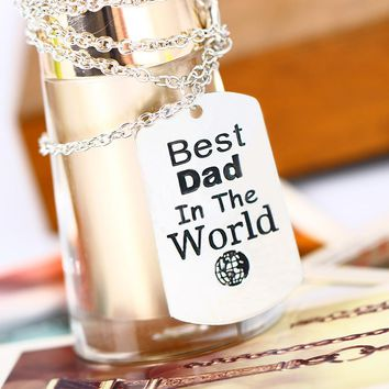 Best Dad In The World Love Daddy Pendant Necklace