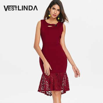 VESTLINDA Cut Out Lace Insert Bodycon Dress 2018 Summer Sleeveless Midi Vestidos Tank Dress Women Brief Office Ladies Dresses