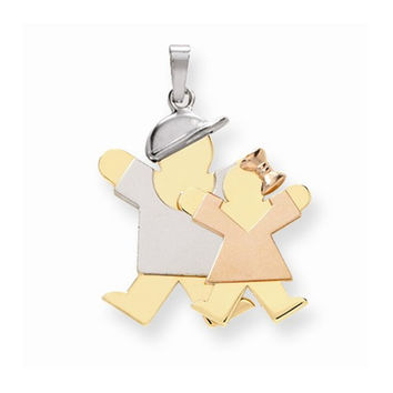 14k Tri-color Big Brother/Little Sister Joy Charm