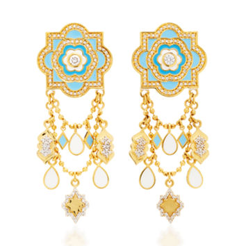 20K Sky Blue Lantern Earrings | Moda Operandi
