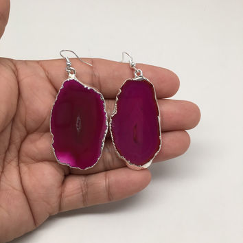 87cts Agate Druzy Slice Geode Earring Electroplated Silver Plated @Brazil,C729