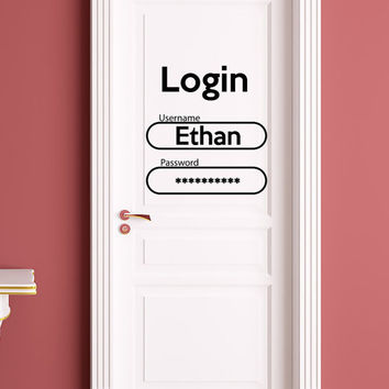 Login Decal for Door Boys Name Decal Password Sticker Vinyl Names Wall Art Nursery Kids Room Decor T103