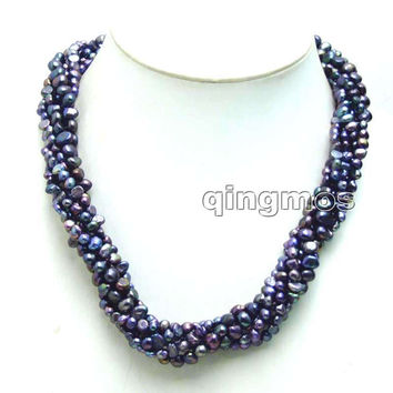 SALE 4-6mm Natural freshwater braoque Black pearl 3 strands singlehanded necklace combination sets-6100