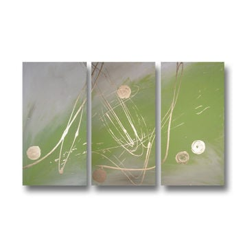 Abstract art canvas painting lime green gold  . Wall art paintings