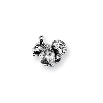 Sterling Silver Squirrel Nibbling Bead Charm