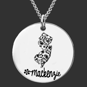 New Jersey Personalized Necklace | New Jersey State