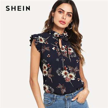 SHEIN Navy Weekend Casual Pearl Embellished Frill Trim Floral Tie Neck Stand Collar Blouse Summer Women Going Out Shirt Top