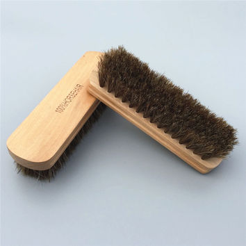100% Genuine Horsehair Leather Bristles Car Detailing Polishing Buffing Brush Solid Wood Car Cleaning Brush