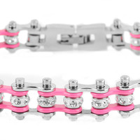 Mini Bling Crystal Bike Chain Steel Pink