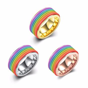 High-quality Rainbow LGBT Ring For Men Stainless Steel Wedding Ring 10MM Wide Gay Pride
