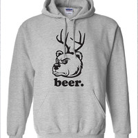 Beer Bear Deer hunting funny drinking US hoodie hooded sweatshirt Mens Womens Ladies USA Canada wild wildlife redneck moose turkey DT-214