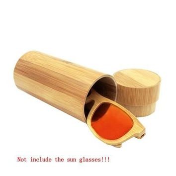 Men Women 1pcs Fashion Original Round Bamboo Sunglasses case Wood Sun glasses box spectacle eyeglasses case-448E