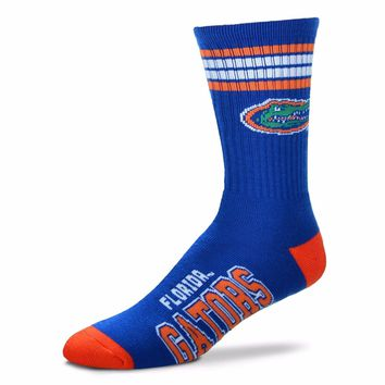 FLORIDA GATORS 4 STRIPE BLUE CREW SOCKS SIZE YOUTH NEW FOR BARE FEET