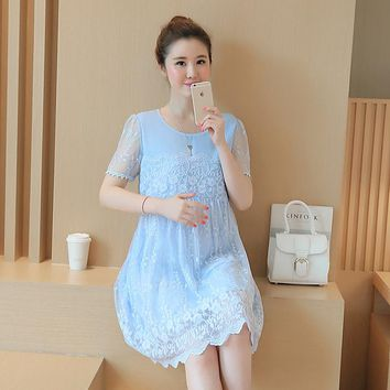 Maternity Clothes 2017 Spring Summer Maternity Short Lace Patchwork Plus Size Loose Dress Pregnancy Clothes for Pregnant Women