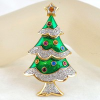 SWAROVSKI Swan Signed Green Enamel Pave Crystal Christmas Tree Pin