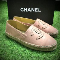 Best Online Sale Fashion Chanel Logo Canvas Pink 01 Espadrilles Flats Stitched Slip On Shoes