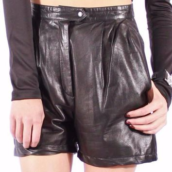 CATHY HIGH WAIST LEATHER SHORTS
