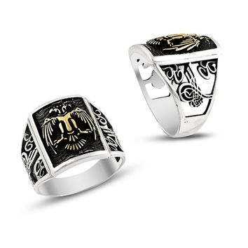 Double headed eagle sterling silver mens ring