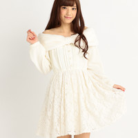 LIZ LISA Faux Fur & Jacquard Lace Long-Sleeved Dress