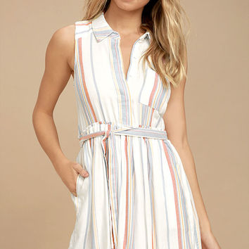 Olive & Oak Celeste White Striped Shirt Dress